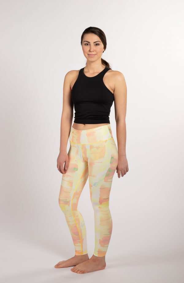 ethically made sustainable yoga leggings with art from Finland