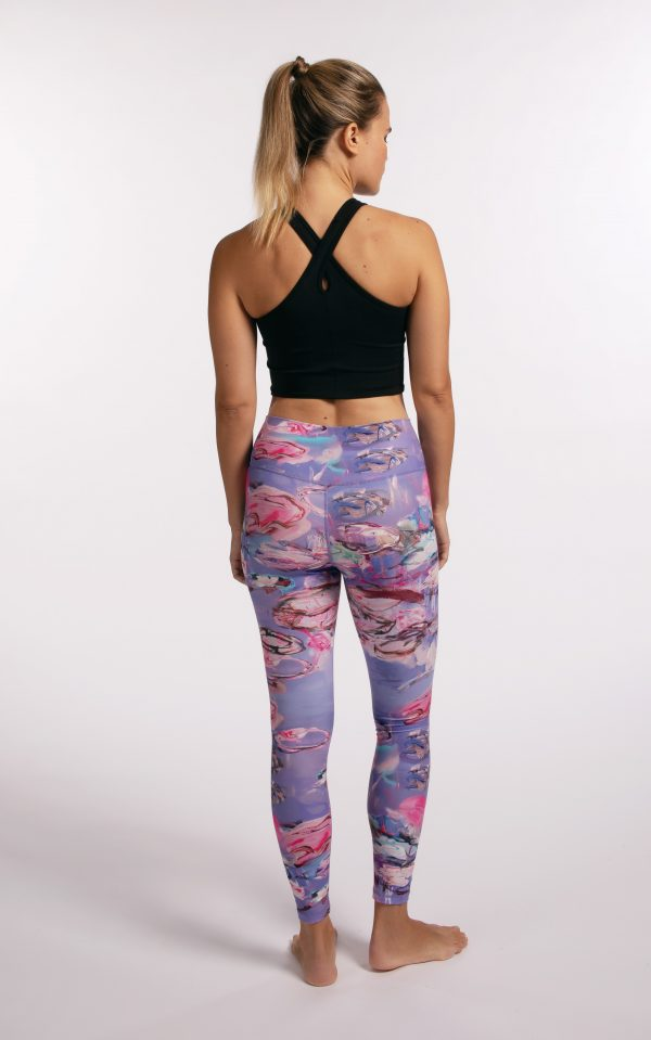 Ethically made sustainable leggings with art by Manuela Bosco