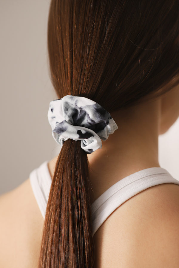 sustainable silver birch art scrunchie